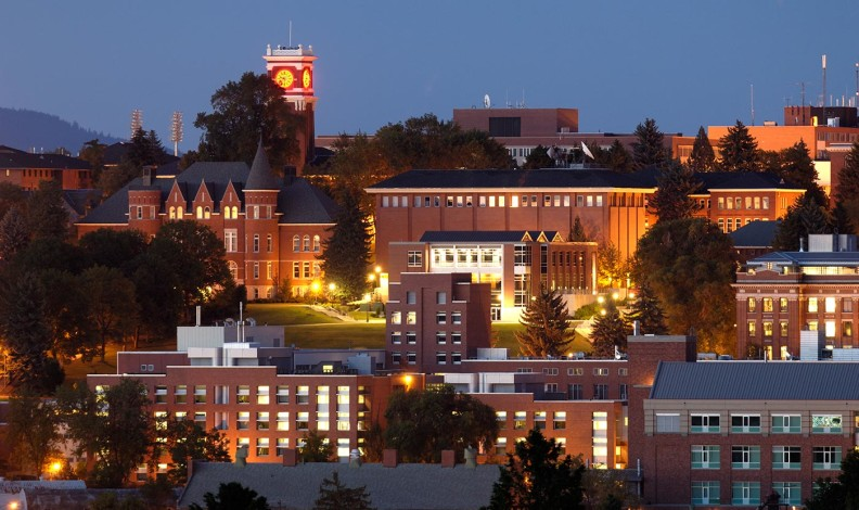 WSU Pullman campus at night