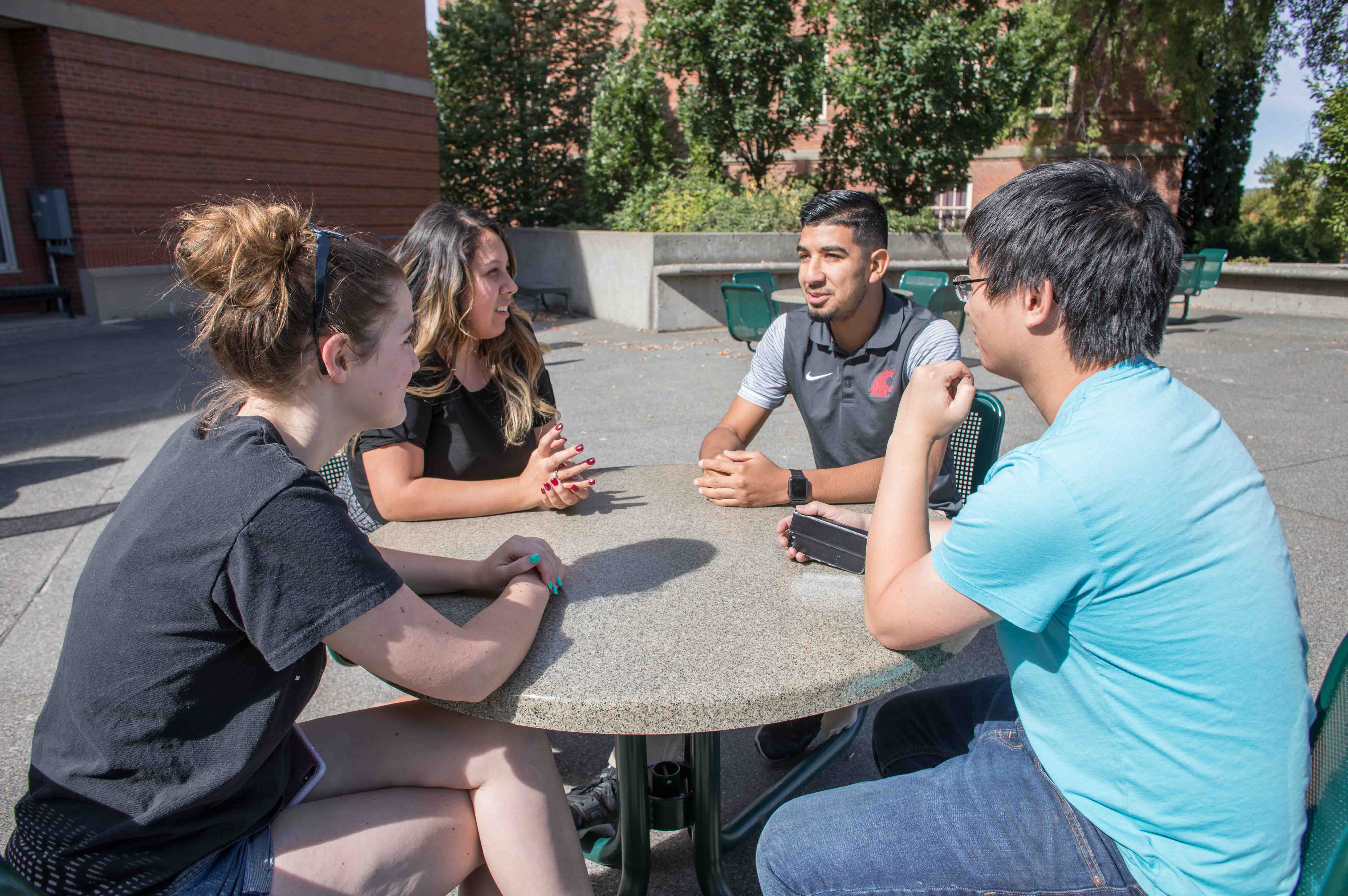 Four students sitting around an outdoor table on WSU campus