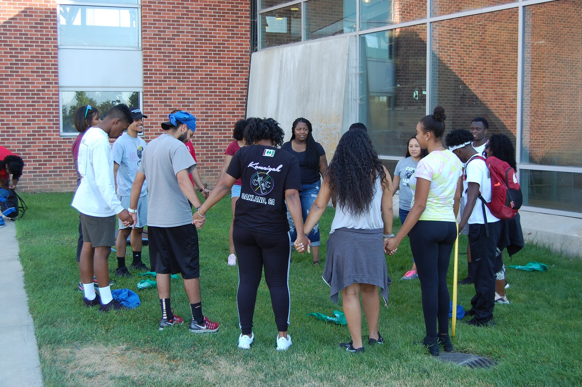Smartstart cohort participate in team building exercise outside of the Student Recreation Center