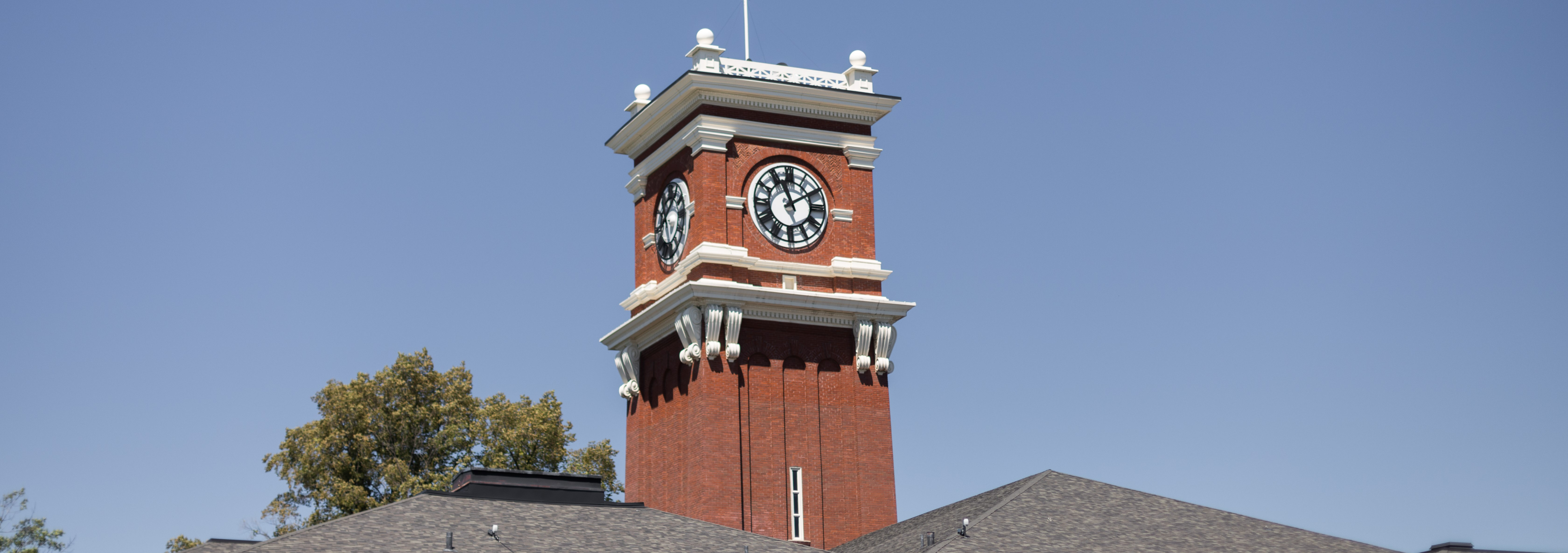 Clock tower in summer